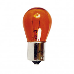 Ampoule de stop 12V/21w/1plot bau15s ambrée ergot deca. 2 pièces