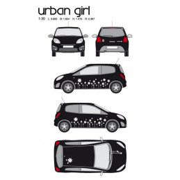 "Kit stickers car déco ""urban girl"" blanc Taille M"