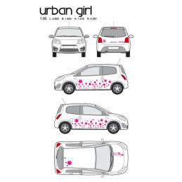 "Kit stickers car déco ""urban girl"" rose Taille M"