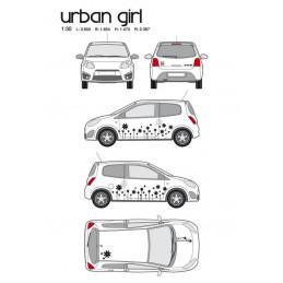 """Kit stickers car déco """"urban girl"""" noir Taille M"""