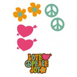 """Élément sticker car déco """"love&peace"""" full color"""