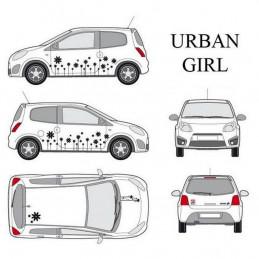 "Kit stickers car déco ""urban girl"" noir Taille S"