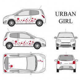 """Kit stickers car déco """"urban girl"""" rouge Taille S"""