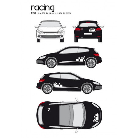 "Kit stickers car déco ""racing"" blanc Taille M"