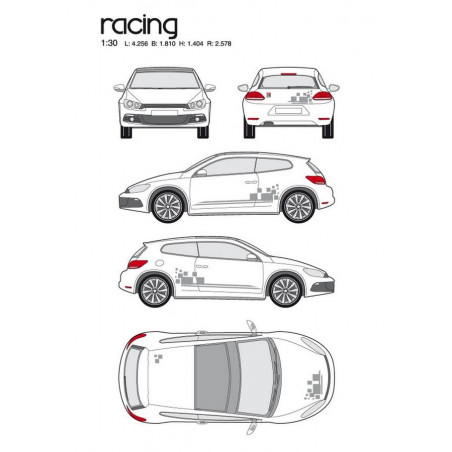 "Kit stickers car déco ""racing"" argent Taille M"