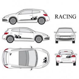 """Kit stickers car déco """"racing"""" noir Taille S"""