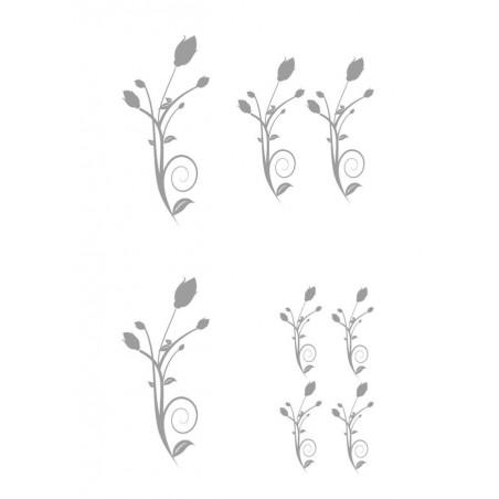 """Élément sticker car déco """"floral circle"""" gris"""