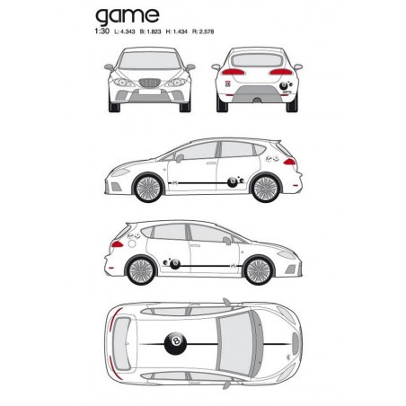 "Kit stickers car déco ""games"" full color Taille M"