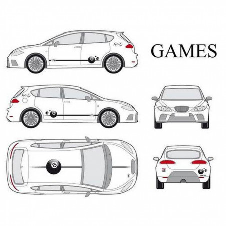 "Kit stickers car déco ""games"" full color Taille S"