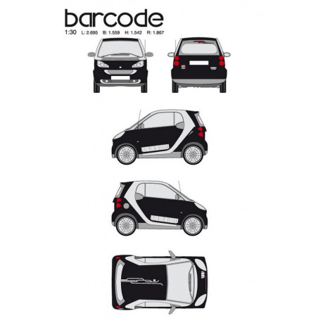 """Kit stickers car déco """"barre code"""" blanc Taille M"""