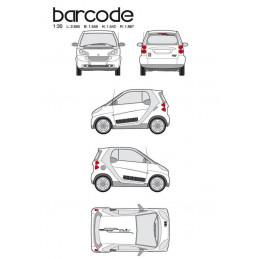 """Kit stickers car déco """"barre code"""" noir Taille M"""