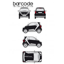 "Kit stickers car déco ""barre code"" blanc Taille S"