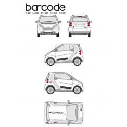 """Kit stickers car déco """"barre code"""" noir Taille S"""
