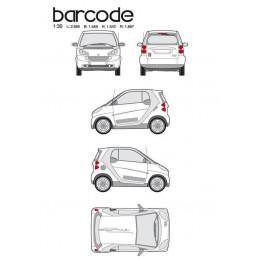 "Kit stickers car déco ""barre code"" argent Taille S"