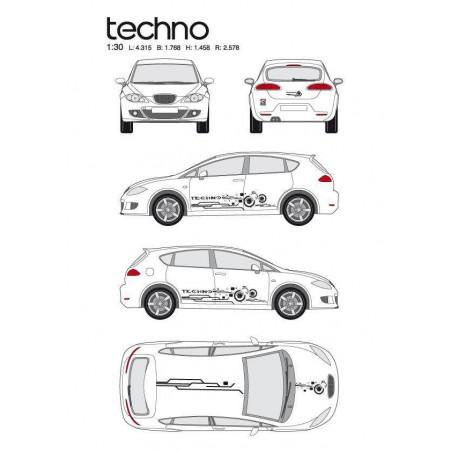 """Kit stickers car déco """"techno"""" noir Taille M -"""