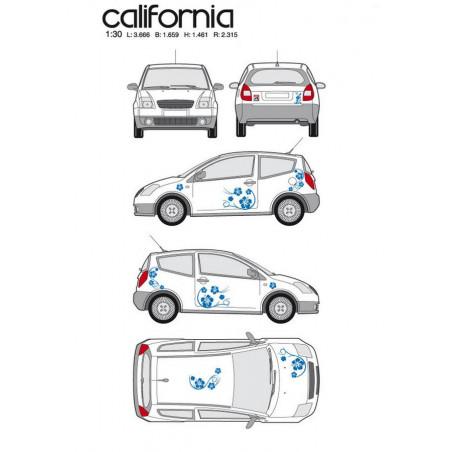 "Kit stickers car déco ""california"" bleu Taille S"
