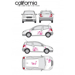 """Kit stickers car déco """"california"""" rose Taille S"""