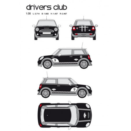 "Kit stickers car déco ""drivers club"" blanc Taille M"