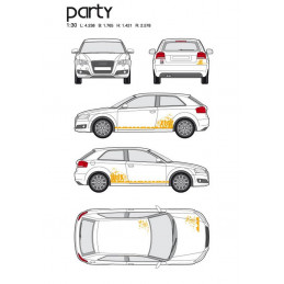 "Kit stickers car déco ""party"" orange Taille M -"
