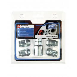 Jeu d'antivol de roue chrome + 1 clé - Ford - KA