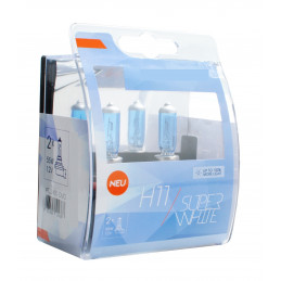2 ampoules SUPERWHITE H11 12V 55W ultra blanc effet XENON