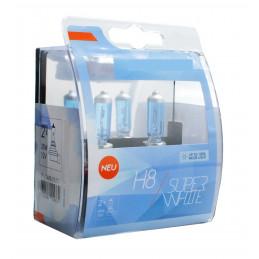 2 ampoules SUPERWHITE H8 12V 55W ultra blanc effet XENON