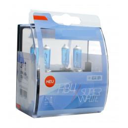 2 ampoules SUPERWHITE HB4 12V 55W ultra blanc effet XENON