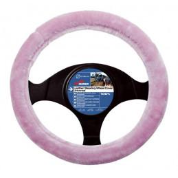 couvre volant GIRLY fourrure rose mercedes classe a - diamètre volant 37/39cm -