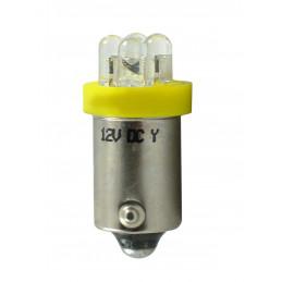 Ampoule jaune BA9s 4xLED 3mm 12V 0.96W