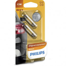2 ampoules navette 36mm PHILIPS C5W 5W 12V SV8.5