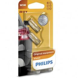 2 ampoules T10 W5W Philips 12V 5W