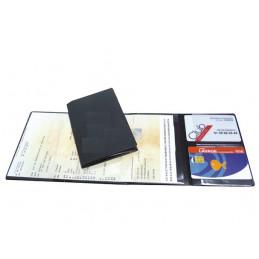 Etui PVC gomme pour carte grise 4 volets (366x136 mm) bleu