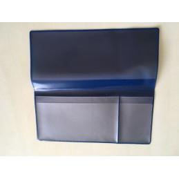 Pochette voyage (billet train/avion, passeport, CB) 2 volets PVC bleu azur