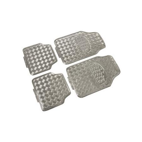 Tapis universel caoutchouc look alu chrome ( 4 pièces)