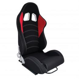 Siege baquet tissu noir/rouge inclinable avec glissière