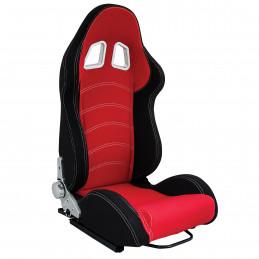 Siege baquet tissu rouge/noir inclinable avec glissière