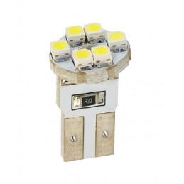10 ampoules LED blanc T10 W5W 6xSMD3528 12V 0.48W