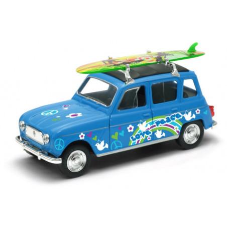 Voiture miniature 4L surf bleu 1/40