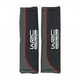 WRC 2 fourreaux de ceinture tissu noir imprimé carbone avec surpiqûre rouge