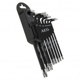 AEG set de 9 clés étoiles + support  T10 -T15 -T20 -T25 -T27 -T30 -T40  T45 -T50