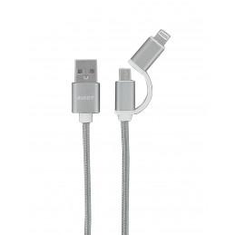 Câble de chargement smartphone 2 en 1 / Micro USB + Iphone 5 6 7 8 X